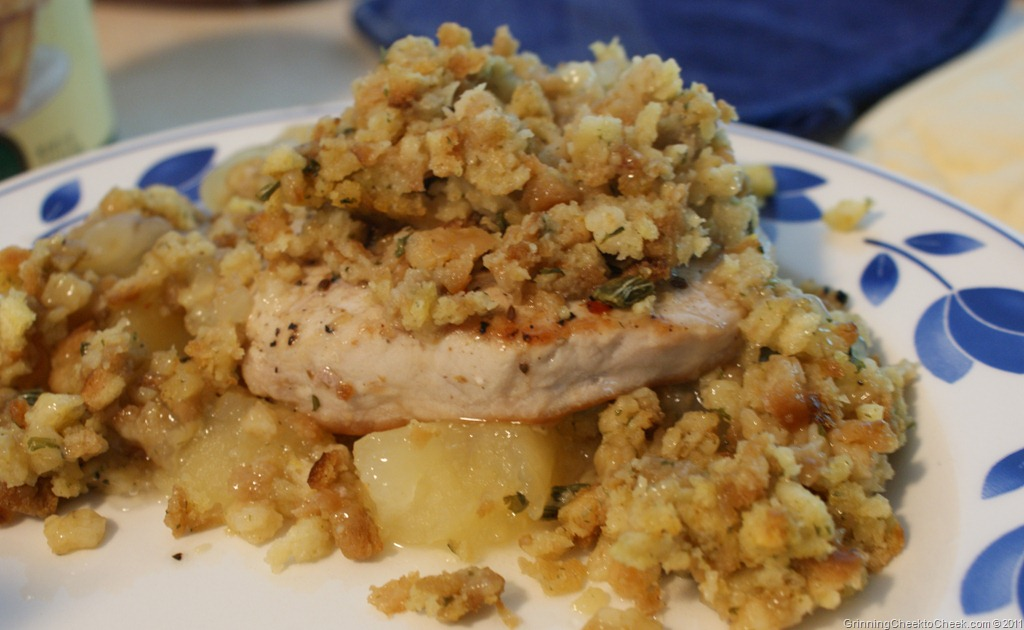 Pork Chops With Apples And Stuffing Grinning Cheek To Cheek