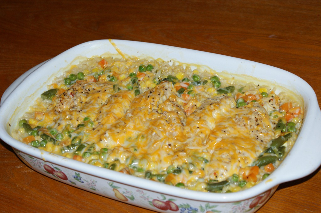 Cheesy Chicken And Rice Casserole Grinning Cheek To Cheek
