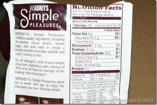 Simple Pleasures Nutritional Facts