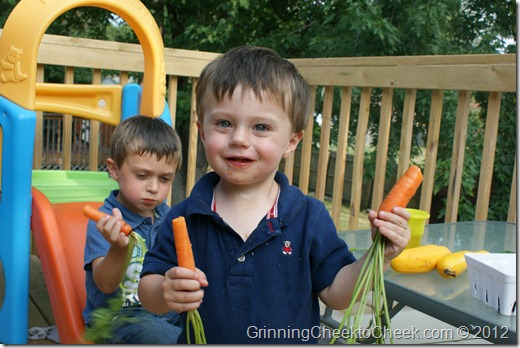 children with home grown produce