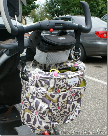 Diaper Bag hanging on a stroller