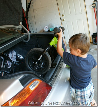 boy with bike in the trunk