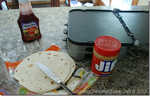 making peanut butter and jelly quesadillas