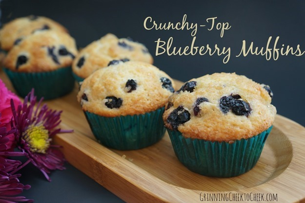 crunchy top blueberry muffins