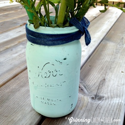 Painted Flower Vase Mason Jar