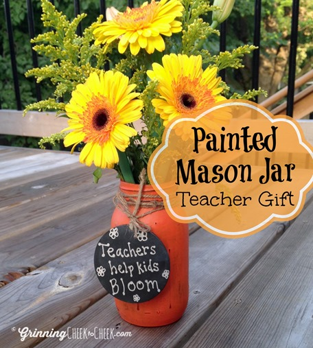 Teacher Gift Mason Jar Painted