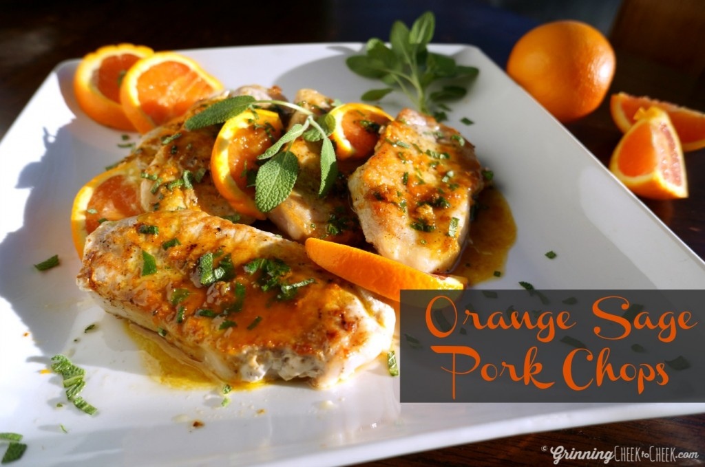 Orange Sage Pork Chops. Very simple recipe, including only four ingredients, one pan, and less than a half hour until completion - for AMAZING results! Try it, I promise you'll love it!